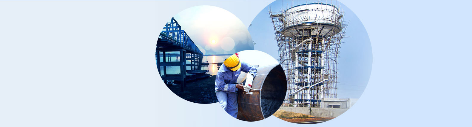 Collage images of Intake Jetty & construction of OHR of WTP.