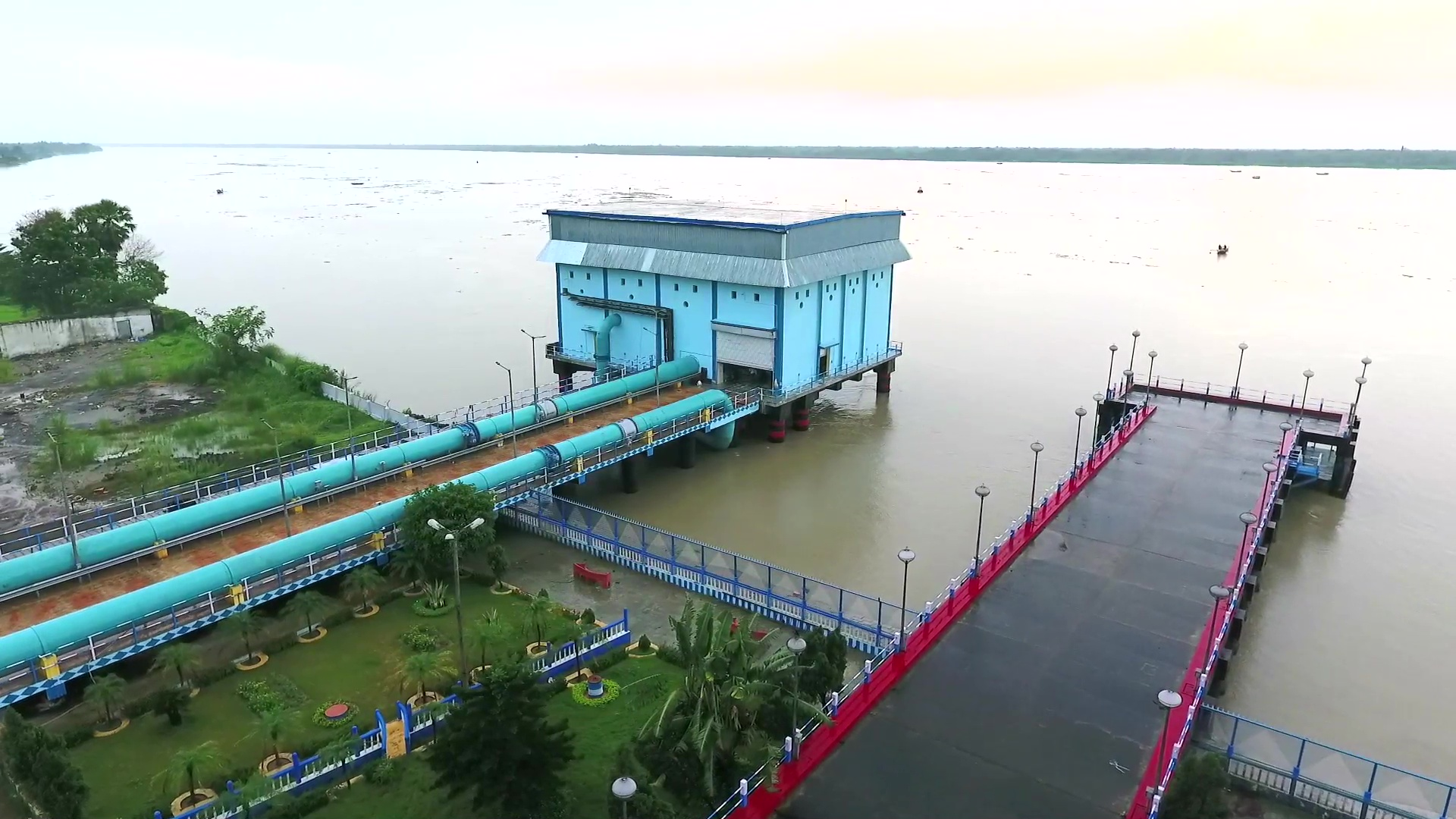 Aerial View of Intake Jetty & Raw Water Pump House on the Bhagirathi of a Piped Water Supply Scheme